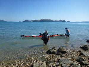 Eric, Anchoring his kayak off Long Island